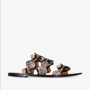 Chloé Brown Lauren Snake Print Sandals, Size 39